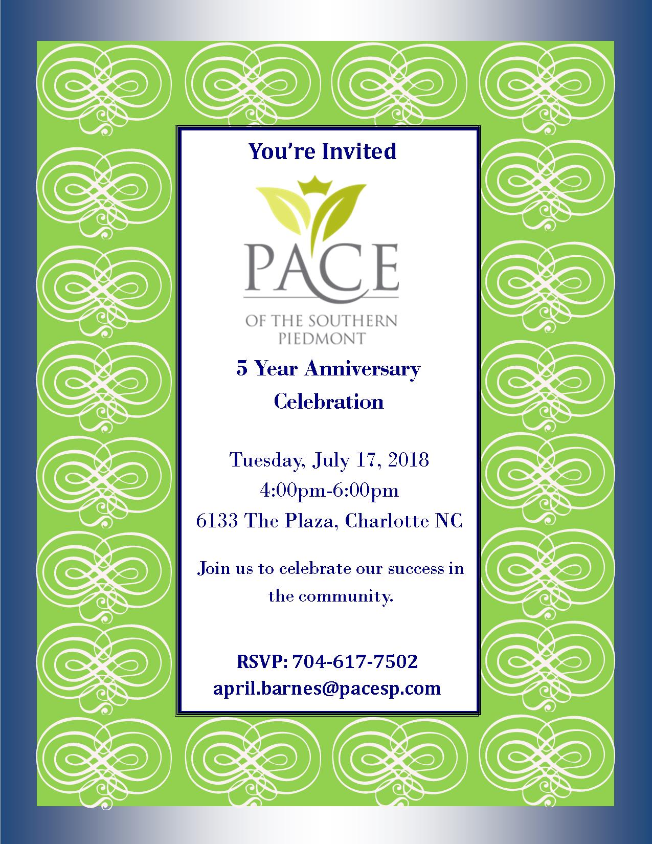 FLYER-INVITE-5-YEAR-ANNIVERSARY PACE of the Southern Piedmont Celebrates 5 Years!