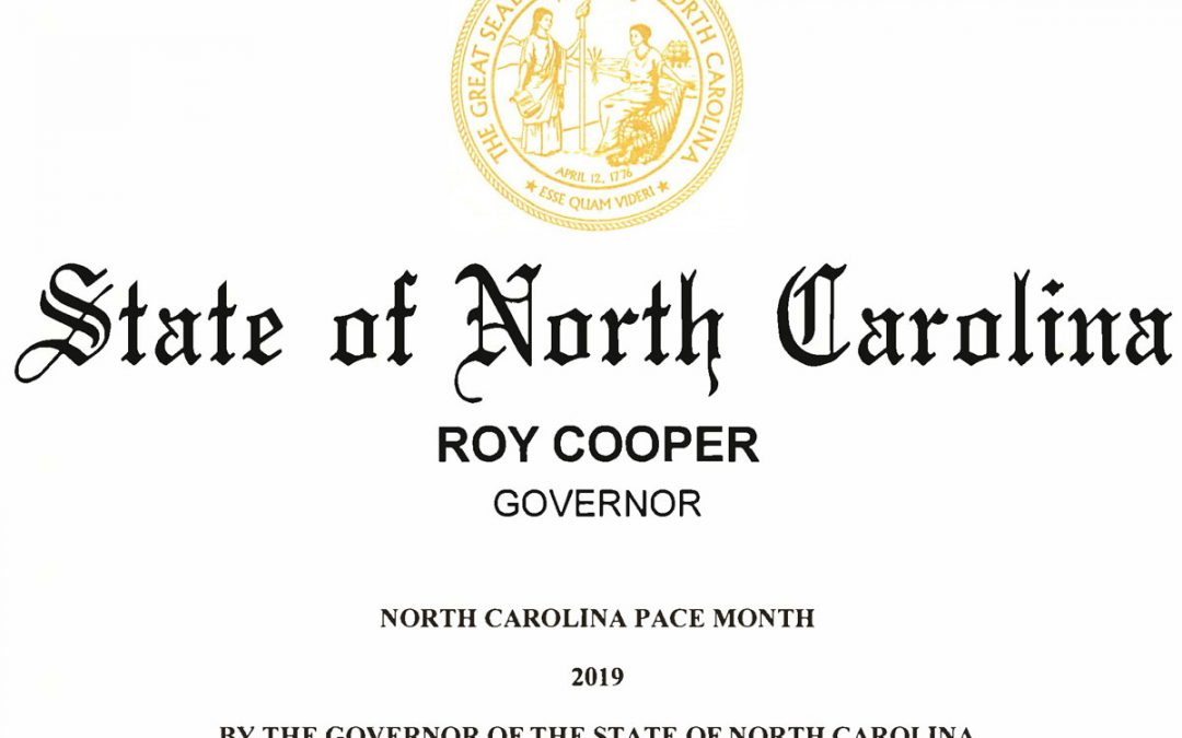 "Governor proclaims September 2019 as ""NORTH CAROLINA PACE MONTH"""