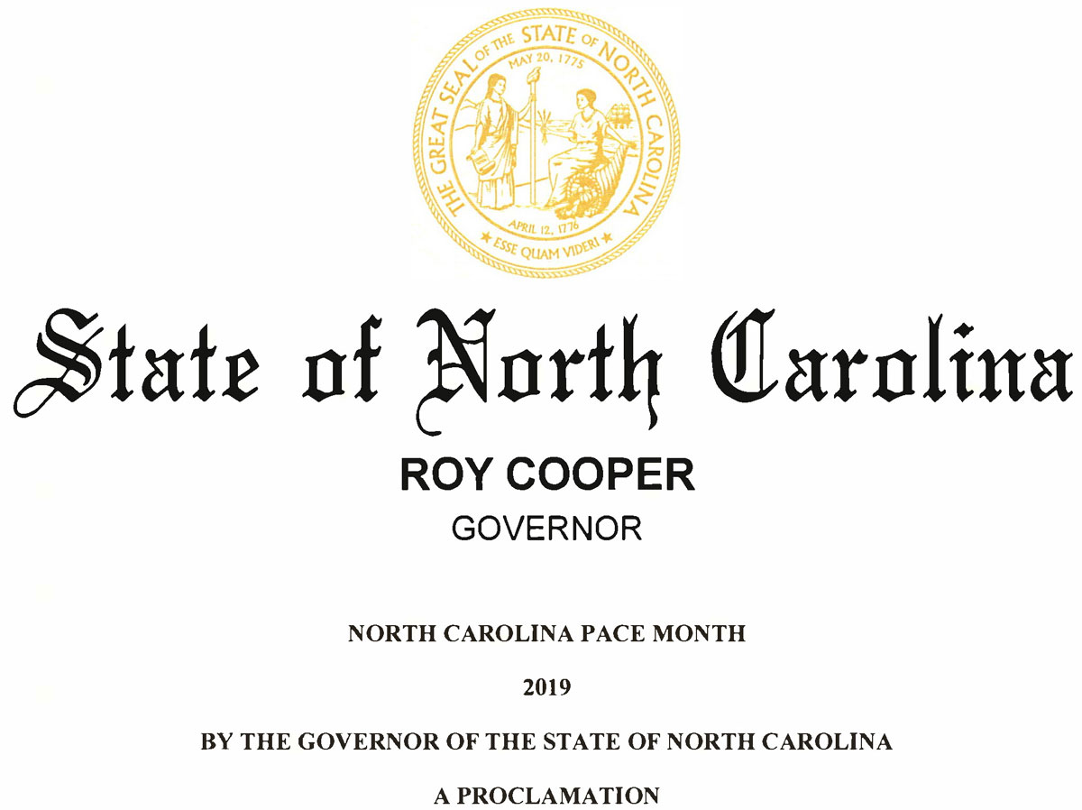 """Pace-Month-Proclamation-Header Governor proclaims September 2019 as """"NORTH CAROLINA PACE MONTH"""""""